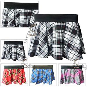 New-Ladies-Women-Full-Circular-Tartan-Check-Mini-Elasticated-Skirt-Size-8-16