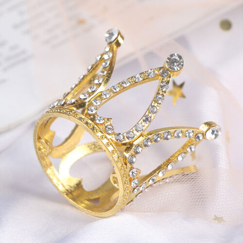 Mini Crown Princess Topper Crystal Pearl Children Hair Ornaments Party DecPF