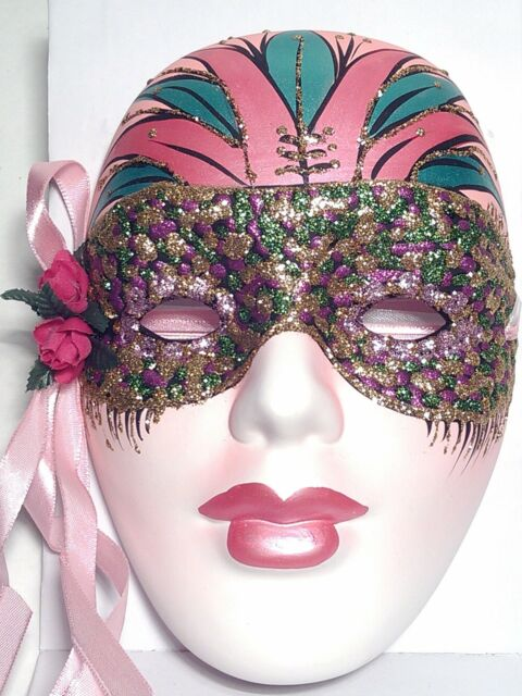 "New 7"" Mardi Gras New Orleans Wall Mask Pink Art Decor Porcelain Ceramic (R1858)"