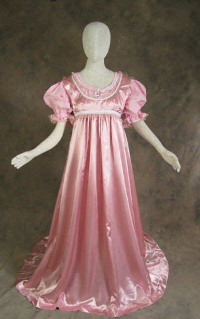 Rose Pink Regency Jane Austen Style 2 Piece Satin Ball Gown Costume ...