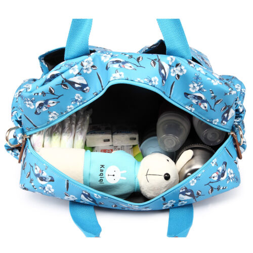 PU Leather Maternity Mummy Baby Changing Bag Set Nappy Diaper Wipe Clean Durable