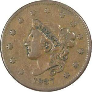 1837-Medium-Letters-Coronet-Head-Large-Cent-F-Fine-Copper-Penny-1c-US-Type-Coin