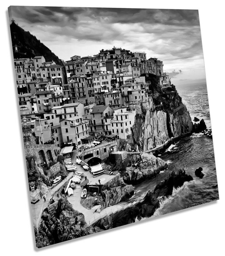 Manarola Liguria  B&W SQUARE CANVAS Wand Kunst Boxed Framed