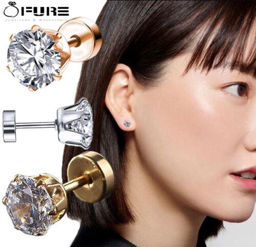 Glamour y Chic CZ Cristal Aretes Pendientes Acero Inoxidable Ear Stud Mujer Hombre
