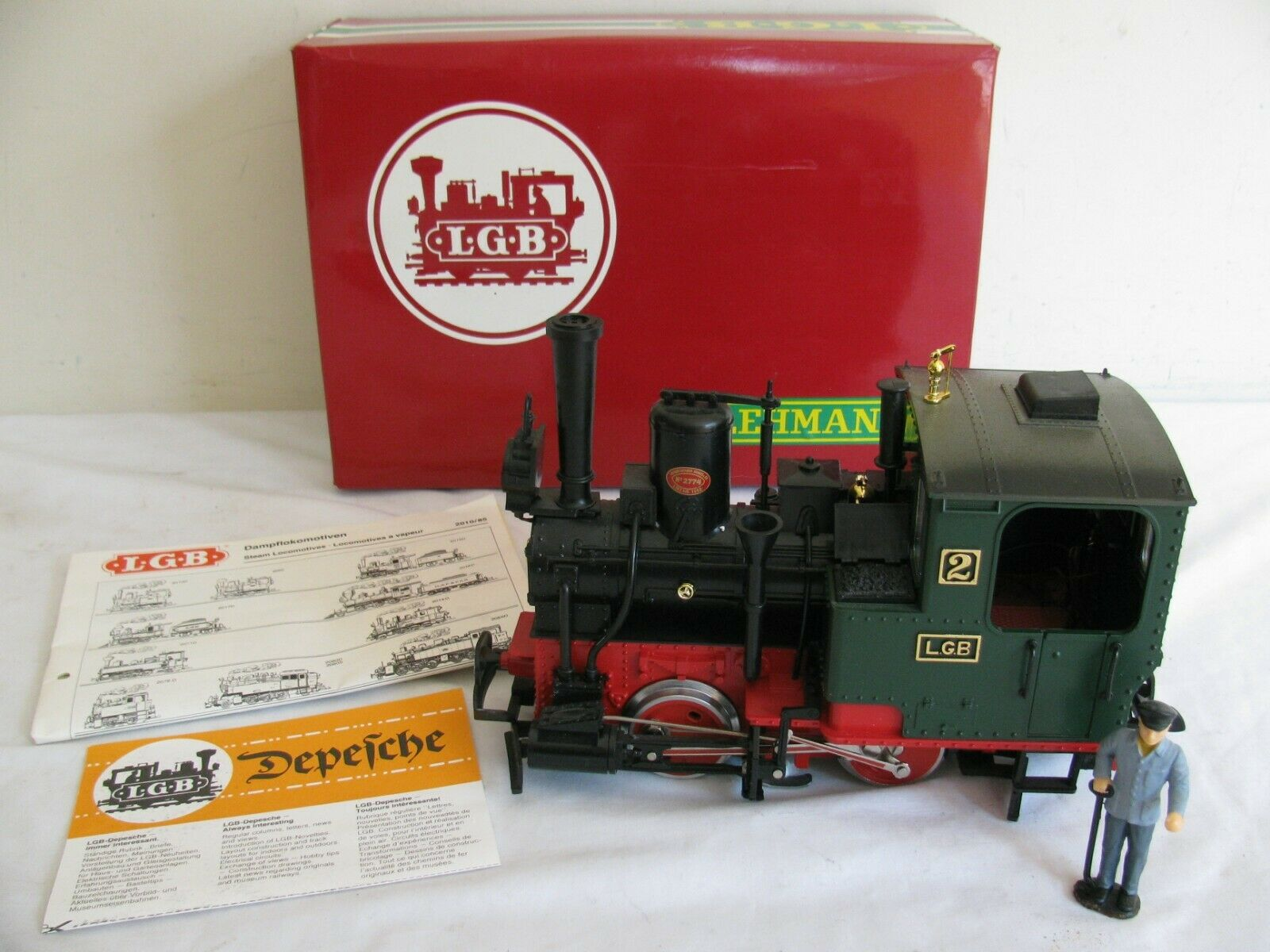 Vintage LGB Lehmann G Scale Green 0-4-0 Steam Locomotive w/ Smoke #2010D VG