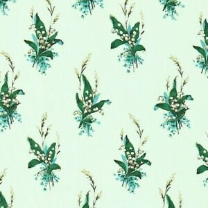 SANDERSON-CURTAIN-FABRIC-034-Muguet-034-3-METRES-EGG-SHELL-BLUE-LILY-OF-THE-VALLEY