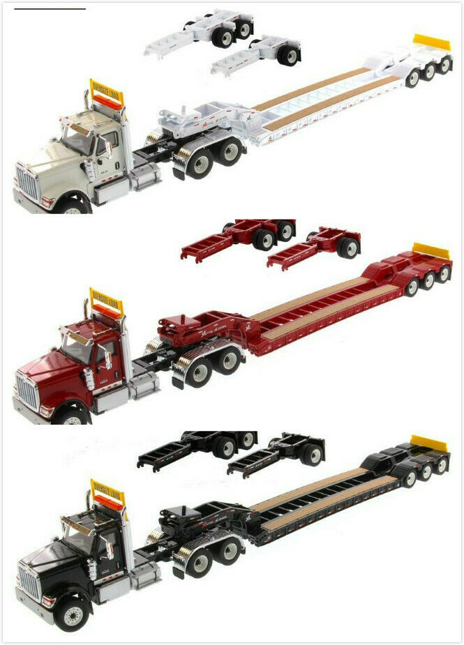 1 50 Scale International HX520 Day Cab Tandem Tractor With XL 120 Lowboy Trailer
