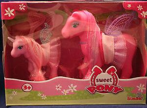 034-My-Sweet-Pony-034-2-Einhoerner-Mutter-und-Kind-SIMBA-Toys-ovp