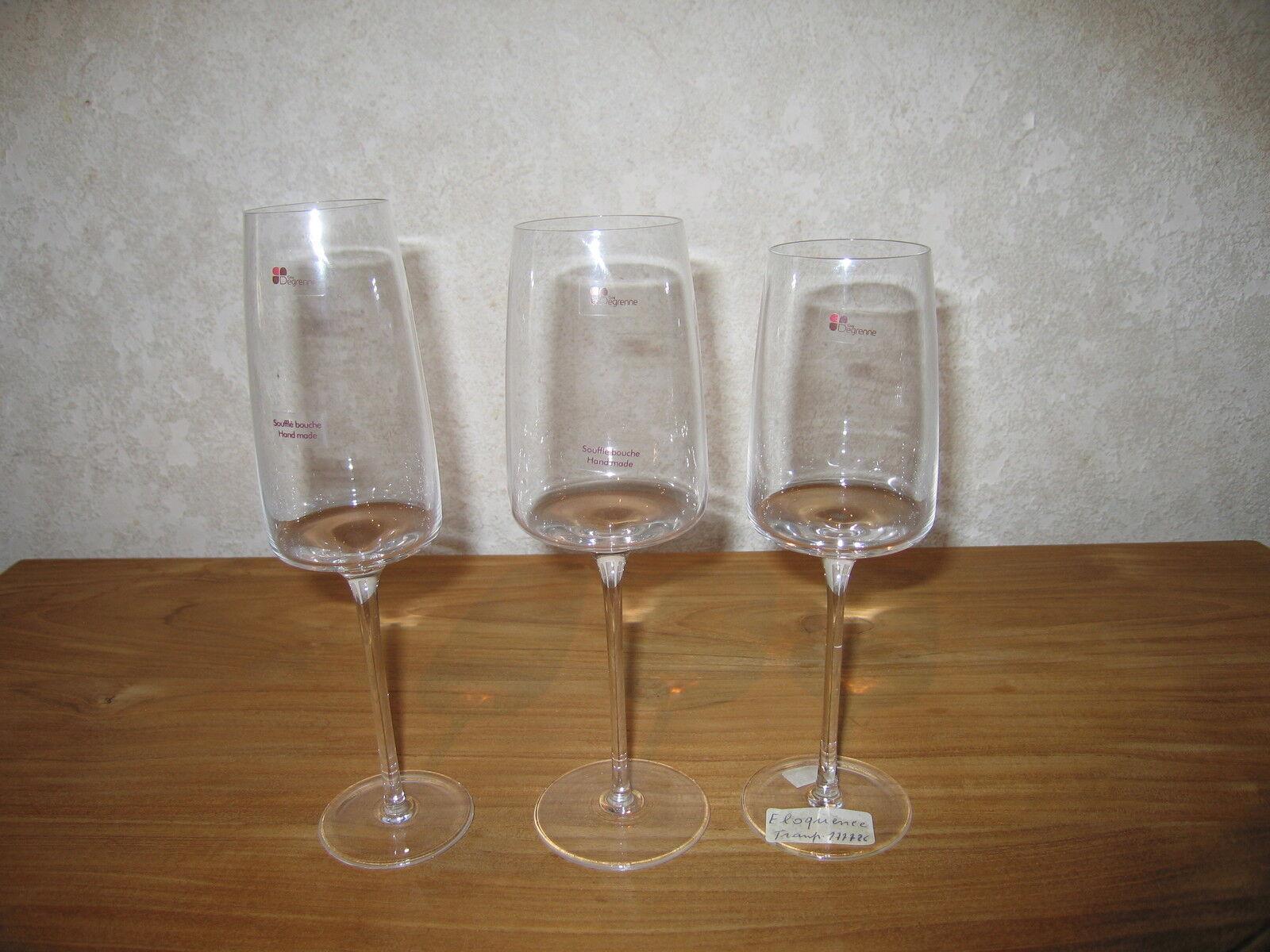GUY DEGRENNE NEW ELOQUENCE Set 3 verres Glasses