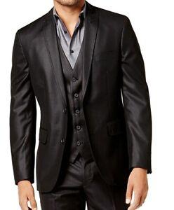 INC Men's Blazer Black Size Large L Slim Fit Suit Separate Peak Lapel $79 #219