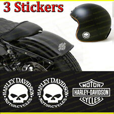 lot de 3 stickers autocollant harley davidson skullHD sportster iron casque ipad