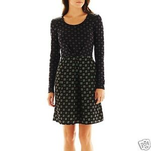 I-Heart-Ronson-Woven-Combo-Tie-Print-A-Line-Skater-Dress-Size-M-L-New-50