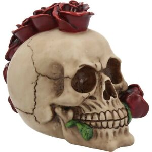 ROSEHAWK Skull 16cm Gothic Flower Mohawk Mohican Ornament Nemesis Now = FREE P+P