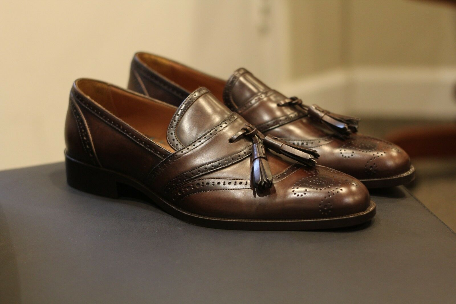 ETRO Princes Marroneee Leather Brogue Tassel Loafers scarpe Made in  Dimensione 11