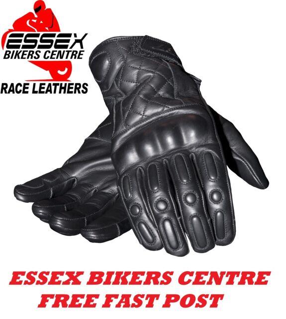 RST Retro Cruiser Harley BSA Cafe Racer Motorcycle Leather Gloves Black New