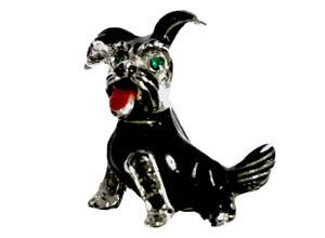 GORGEOUS-VINTAGE-Small-Cute-Dog-Silver-Tone-Enamel-Marcasite-Brooch-Emerald-Eyes