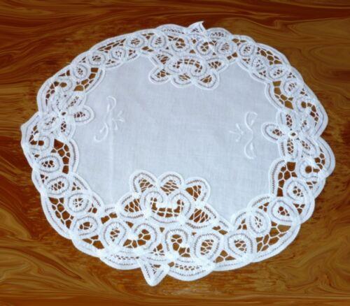 NAPPERONS 30 cm environ avec rubans dentelle U Broderie Blanc Beige 100/% coton