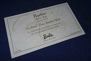 Barbie-Silkstone-certificat-d-039-authenticite-034-Cocktail-Dress-034-Certificate