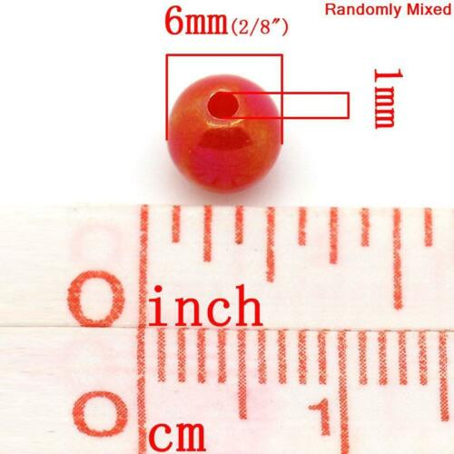 Q 250 MIXED COLOUR AB ROUND ACRYLIC BEADS ~6mm~Wine glass charms~Sewing~Cards