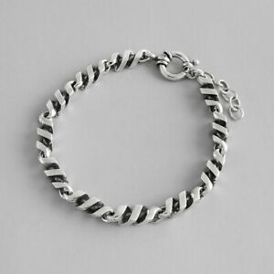 NEW-Retro-Womens-Genuine-S925-Sterling-Silver-Braided-Twist-Rope-Bracelet-Do-Old