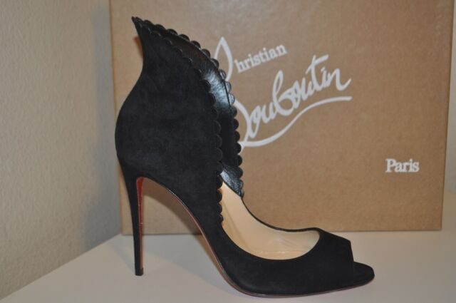 915ef27b47d NIB Christian Louboutin PIJONINA Flared Collar Pump Heel Shoe Black 37.5 -  7.5