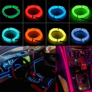 1 3 5m led flash flexible neon light glow el strip tube wire rope glow car decor ebay. Black Bedroom Furniture Sets. Home Design Ideas