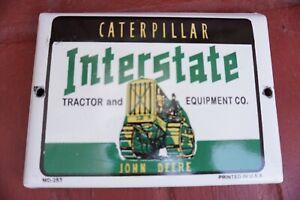 VINTAGE-CATERPILLAR-JOHN-DEERE-PORCELAIN-SIGN-GAS-OIL-PUMP-PLATE-FARMING-TRACTOR