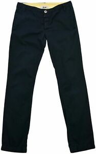 Acne Gin Marin Mens Slim Straight Trouser Flat Front Chino Pants Navy Blue 28x32