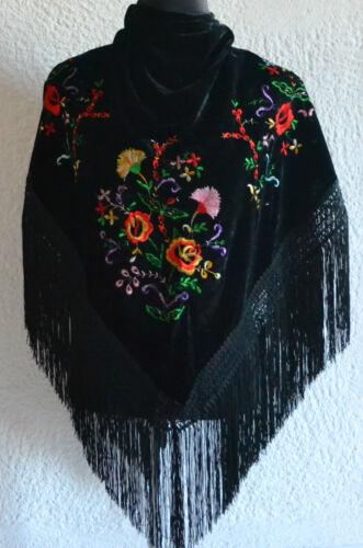 """Flamenco Spagnolo in Velluto Nero Triangolare Scialle C//W ricamo floreale 66/"""" x 39/"""""""