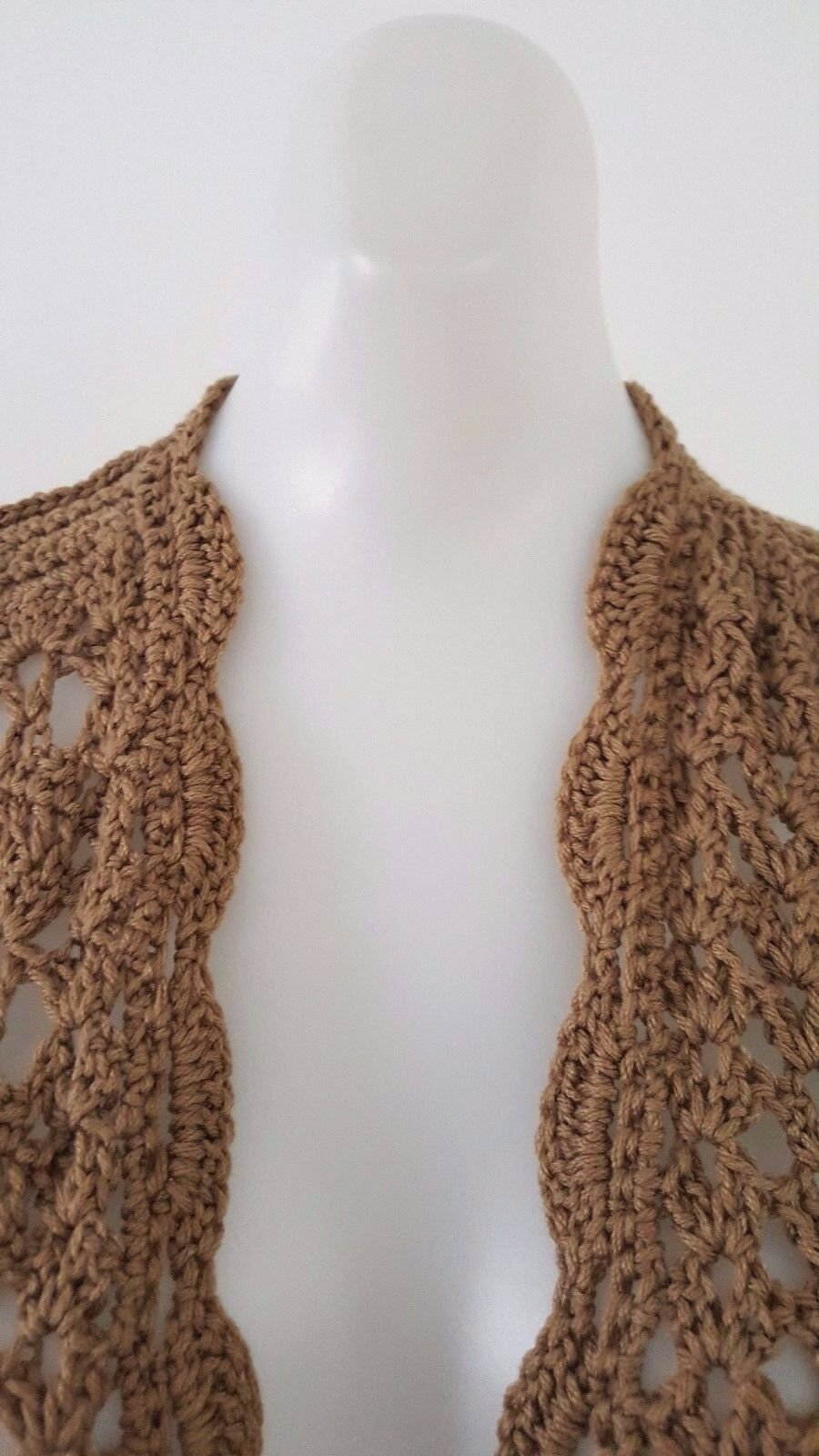 NEW GALINA HANDMADE WOMEN'S BEIGE CROCHET OPEN CARDIGAN VEST VEST VEST KNIT SLEEVELESS  M c39e1b