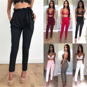 Womens-Ladies-Paper-Bag-Tie-Waist-Belted-Cigarette-Slim-Fit-Full-Length-Trouser