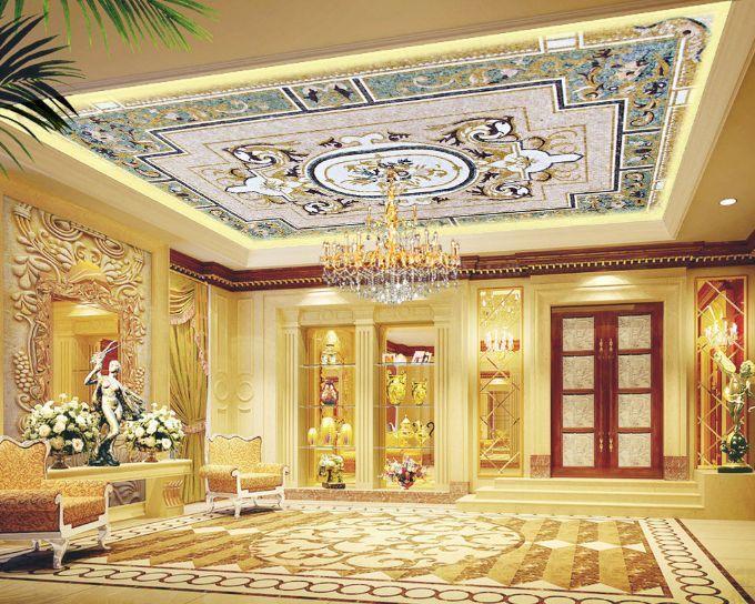 3D Pale Flowery Ceiling WallPaper Murals Wall Print Decal Deco AJ WALLPAPER GB