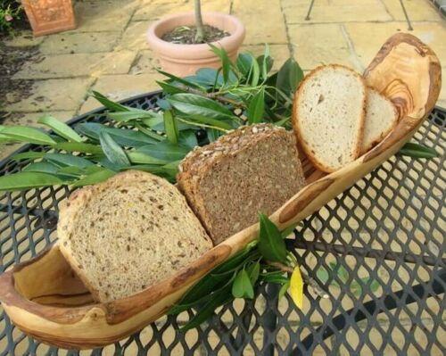 Brotschale aus hochwertigem Olivenholz Naturform Handarbeit Brotkorb Olivenholz