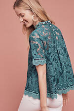 NWT Anthropologie Lace Meadows Blouse sz 12 By HD in Paris $118 Teal Turquoise
