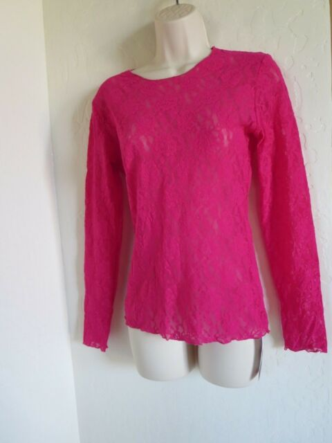 82df05cc30fc25 NWT, HANKY PANKY #128L, MEDIUM, SIGNATURE LACE UNLINED LONG SLEEVES TOP,