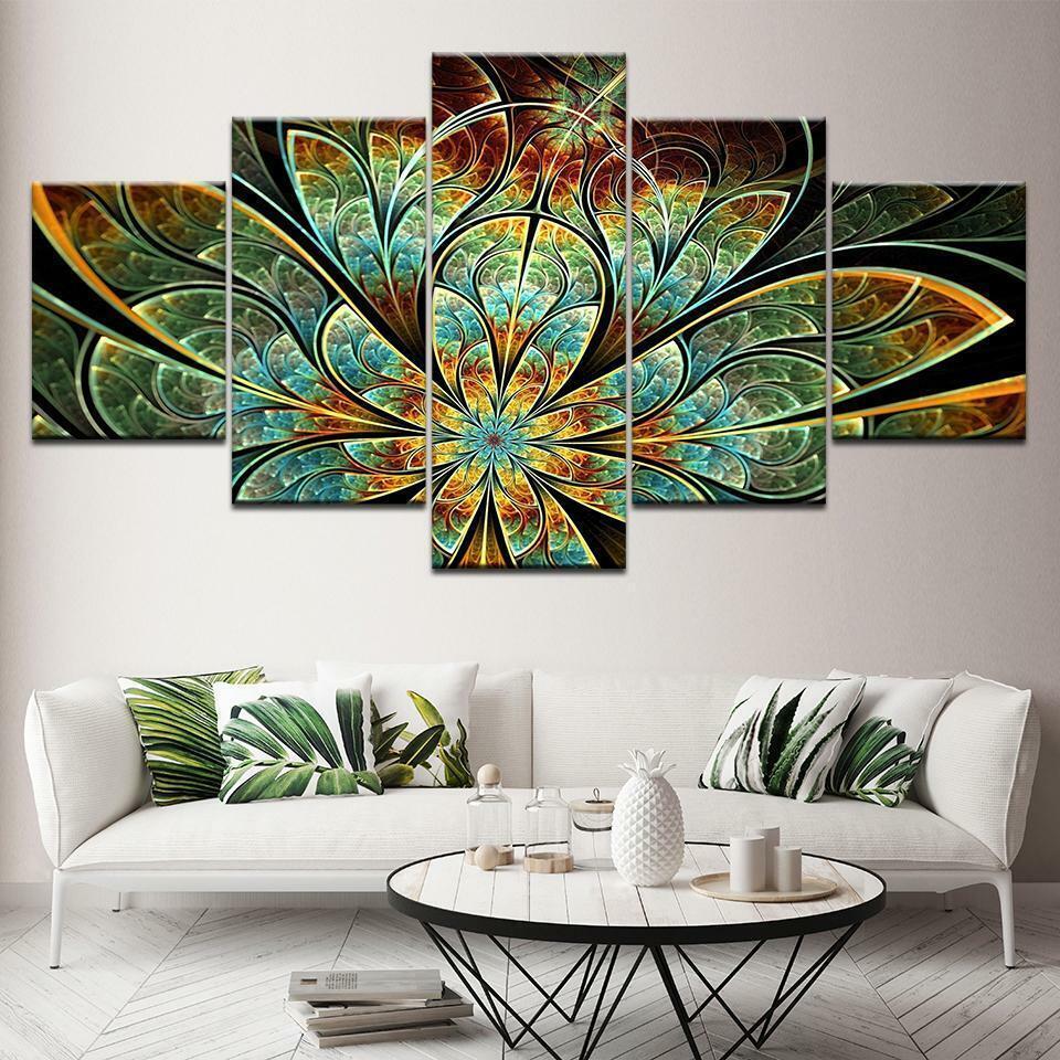Fractal Flower Pattern Digital 5 panel canvas Wall Art Home Decor Poster Print