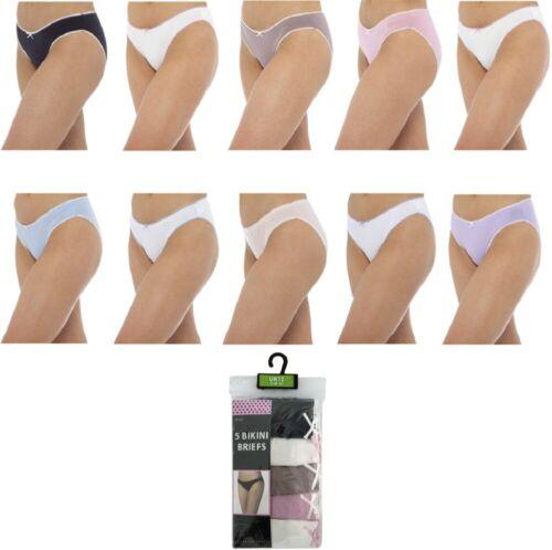 Ladies 5 Pack Bikini Briefs Underwear Knickers Frilly Lace Women UK Sizes 12-18