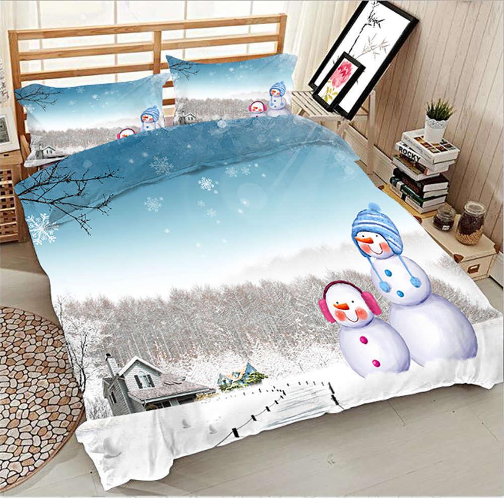 Romantic Snowman 3D Printing Duvet Quilt Doona Covers Pillow Case Bedding Sets
