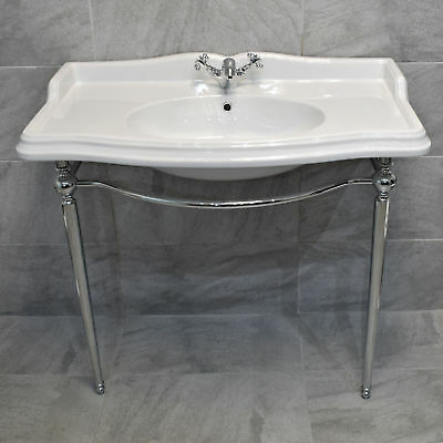 Green Hall 1050mm Traditional Ceramic Basin With Chrome Washstand Console Sink