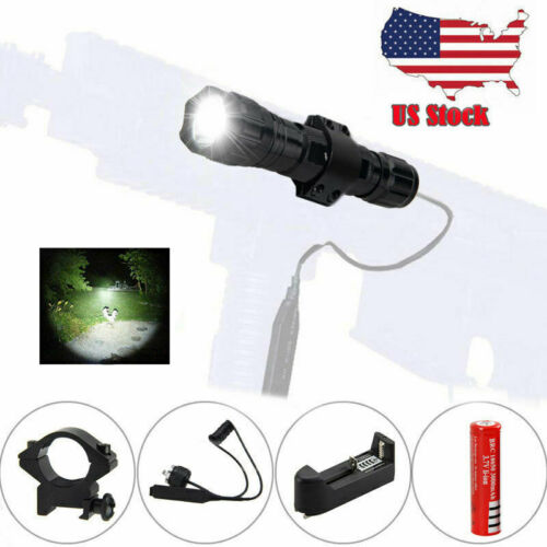 Rechargeabe 5000LM T6 LED Hunting Light Shotgun Flashlight Picatinny Rifle Mount