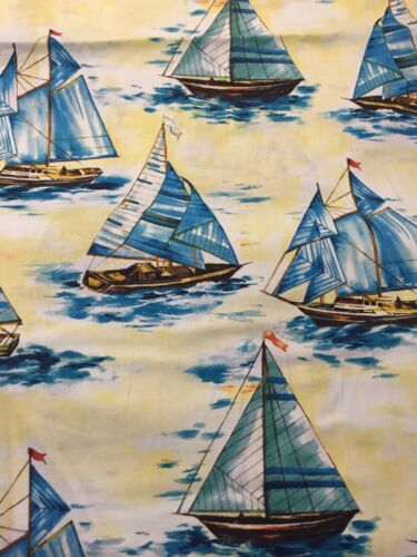 NEW Tropical Sailboat Fabric By the Half Yard 100/% Cotton