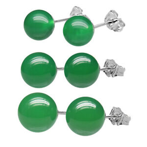 925 Sterling Silver Natural 6mm Round  Ball Green Onyx Gemstones Stud Earrings