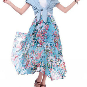 Women-Asymmetric-Sexy-Casual-Elastic-Pleated-Long-Tail-Maxi-Dress-Summer-Skirt