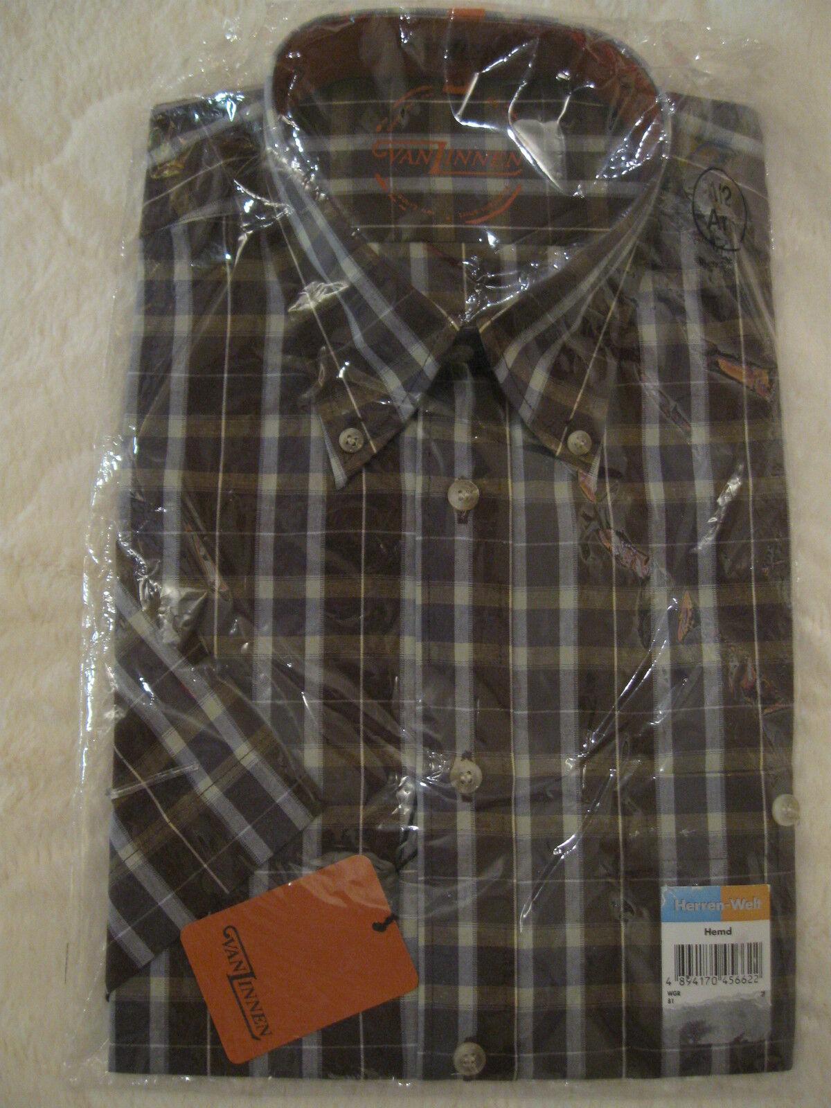 VAN LINNEN  Hemd Gr. M 39 40 braun kariert kurzarm Oberhemd NEU  | Geeignet für Farbe  | Online-Exportgeschäft  | Mittlere Kosten