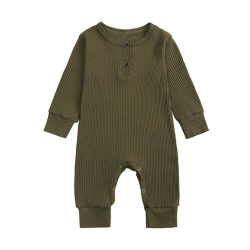 Newborn Baby Girls Ribbed Clothes Plain Romper Jumpsuit Bodysuits Outfit UK