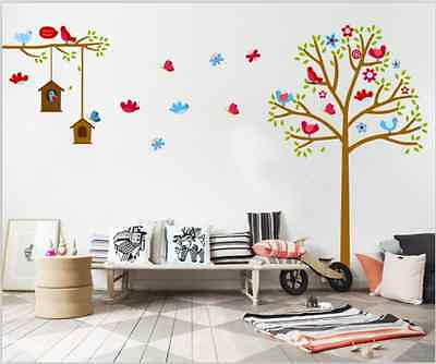 Cute Bird and Tree Art Decal Removable Vinyl Stickers kids bedroom Nursery Decor