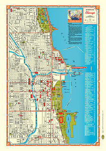 Chicago 1946 Map Poster Vintage Lake Michigan Rte 66 Solr ... on