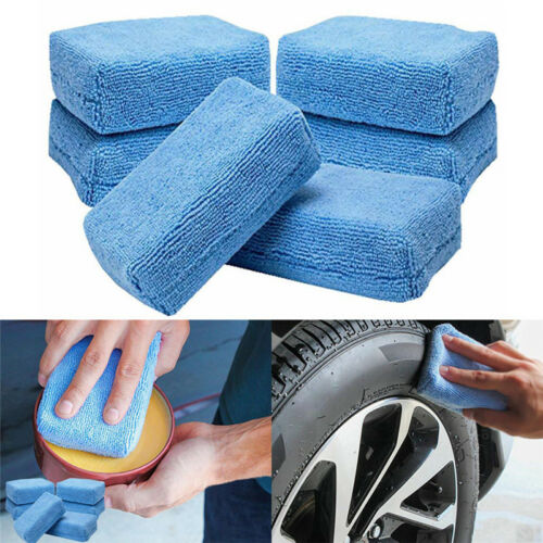5x Car Microfiber Applicators Sponges Cloths Microfibre Hand Wax Polishing TYUK