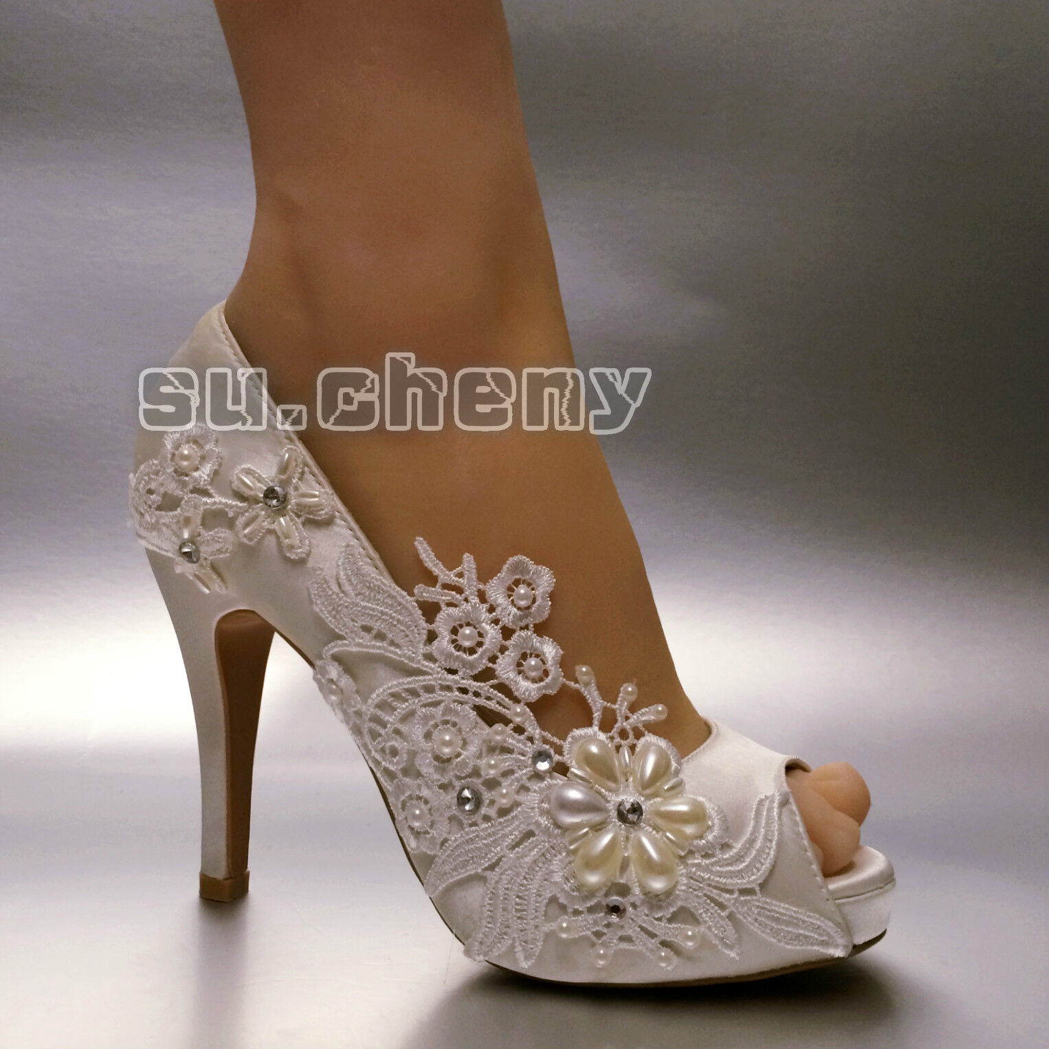 Su.cheny 3  4  heel satin white ivory lace pearls peep toe Wedding Bridal shoes