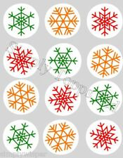 12 Snowflake Christmas Rice Paper cake Toppers precut Novelty Red Green Gold